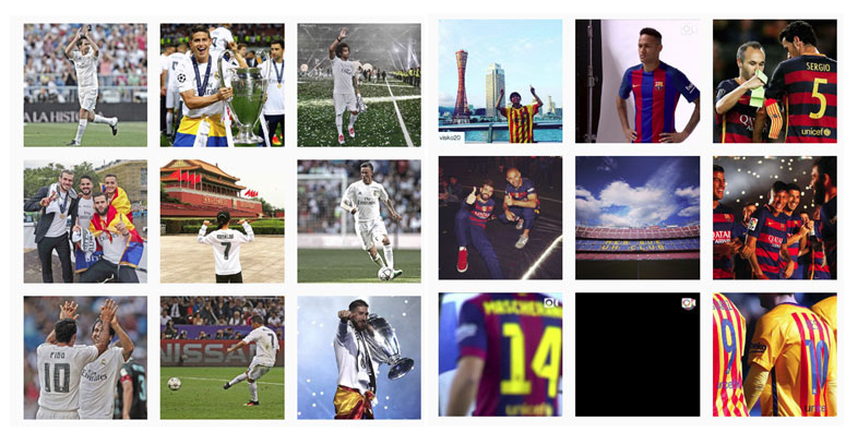 Real Madrid y Fútbol Club Barcelona en Instagram